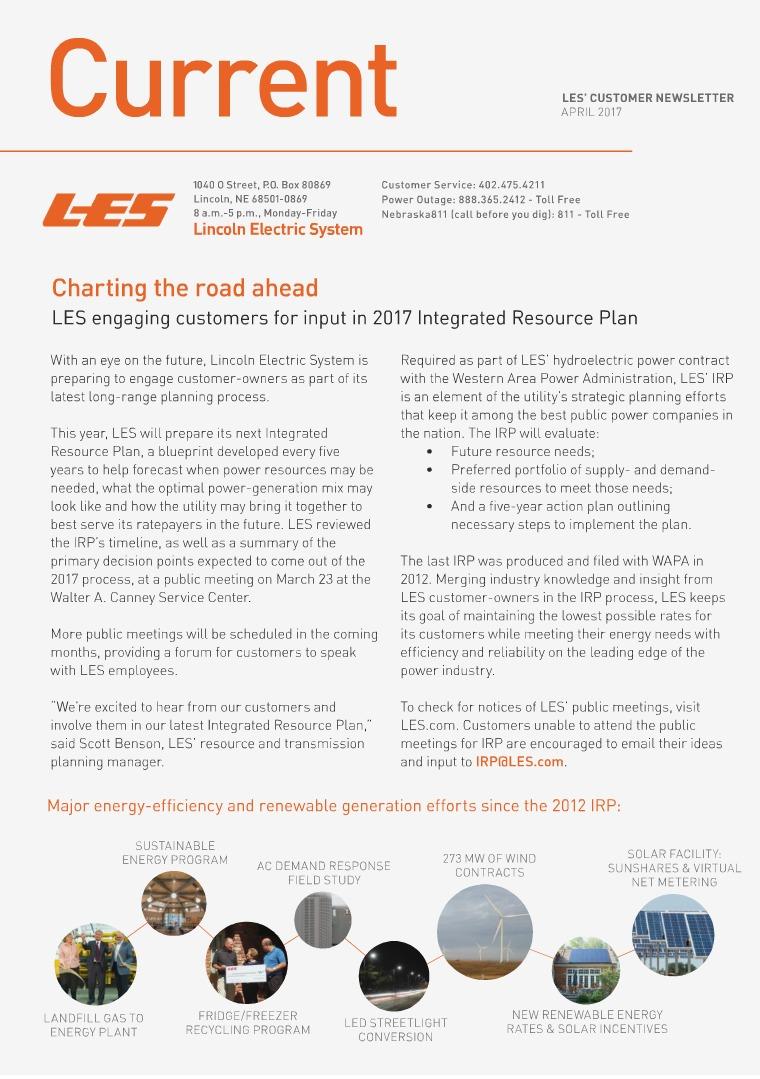 Current  | LES Customer Newsletter Current - April 2017