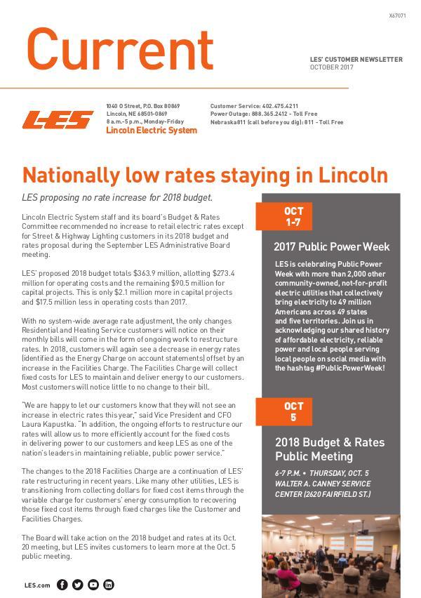 Current  | LES Customer Newsletter Current - October 2017