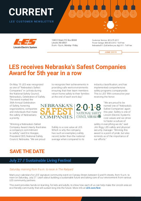 Current  | LES Customer Newsletter Current - June 2019