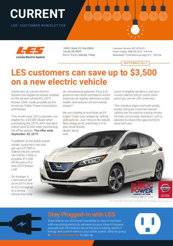 Current  | LES Customer Newsletter Current - September 2019