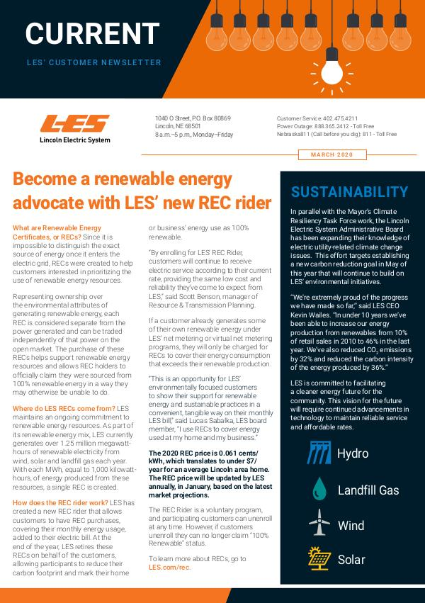 Current  | LES Customer Newsletter Current - March 2020