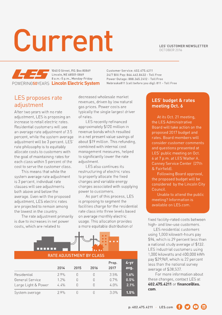 Current  | LES Customer Newsletter Current - October 2016