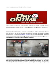 Role of Water Damage Restoration Companies in Emergency