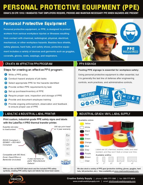 Personal Protective Equipment (PPE) - Creative Safety Supply April 2014