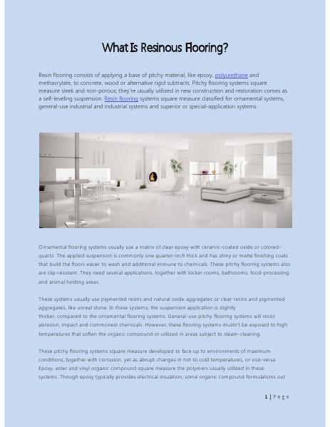 What Is Resinous Flooring? April 27 2014