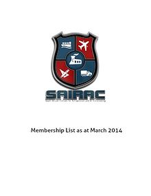 SAIRAC Membership List 2014