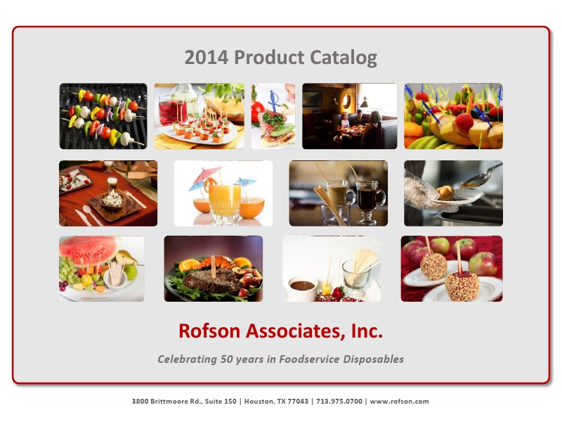 Rofson Associates, Inc. Product Catalog Rofson Product Catalog
