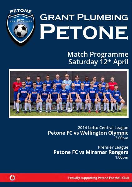 Match Programme - Central League v Palmerston Nth - 20 April 2014