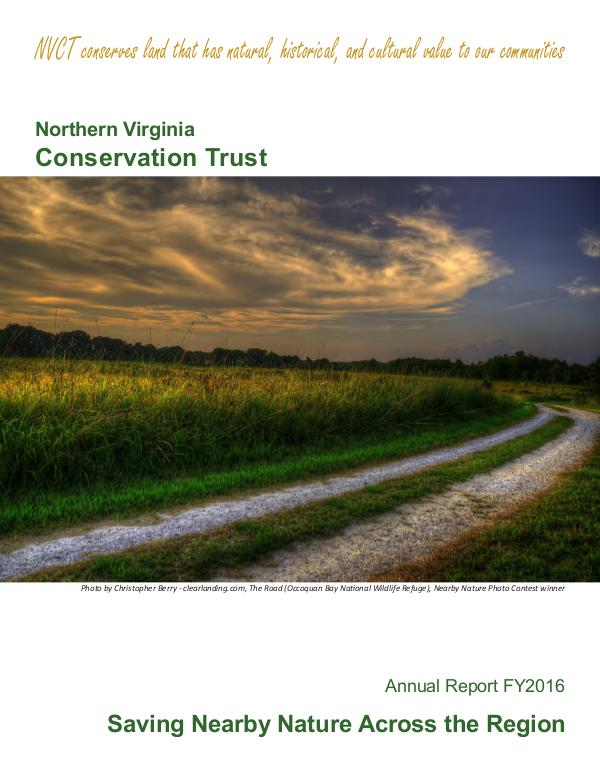 NVCT Annual Report 2016 Northern Virginia Conservation Trust's 2016 Annual