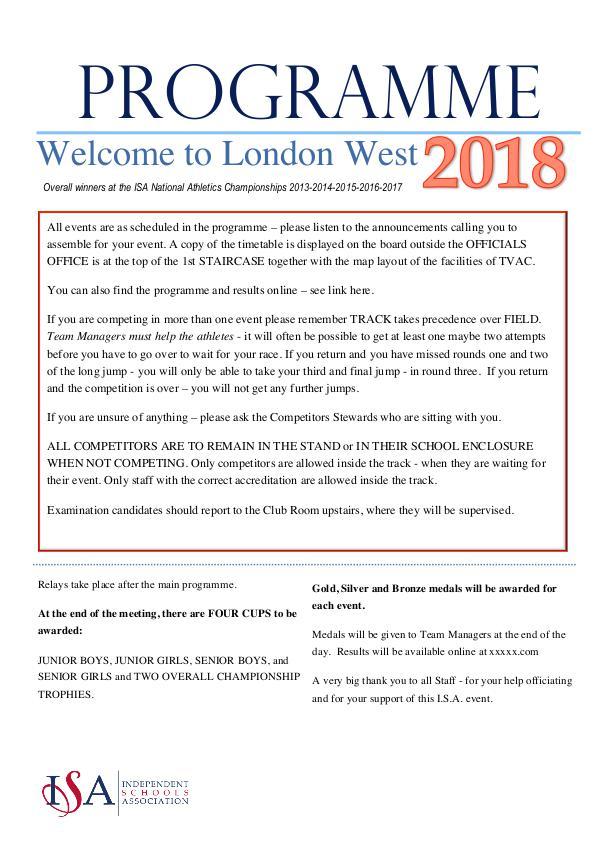 ISA London West ISA LW Programme 2018