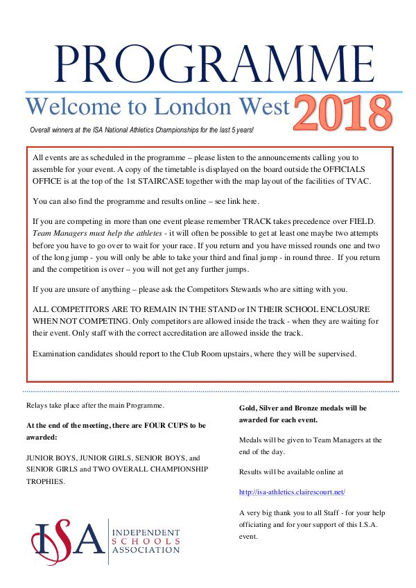 ISA London West ISA LW Programme 2018