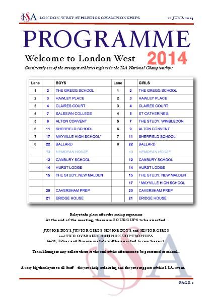 ISA London West Athletics - Draft 3 June 2014