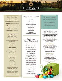 The Manor Golf and Country Club Newsletter