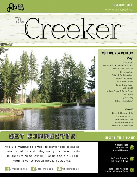 Mill Creek Country Club Member Newsletter June-July 2014