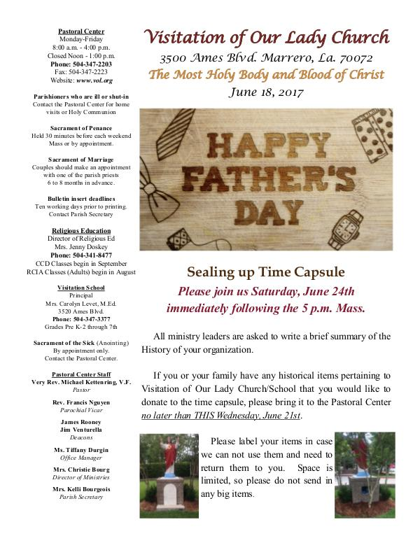 VOL Parish Weekly Bulletin June 18, 2017