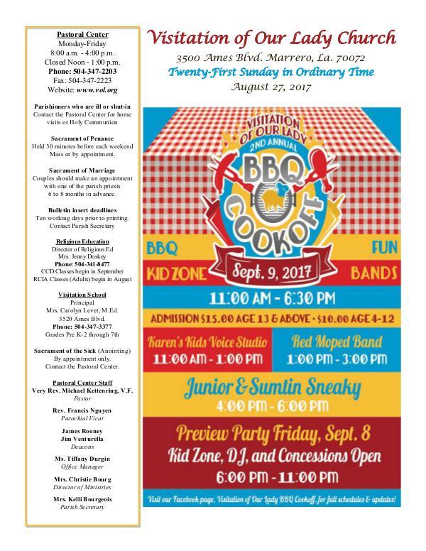 VOL Parish Weekly Bulletin August 27, 2017