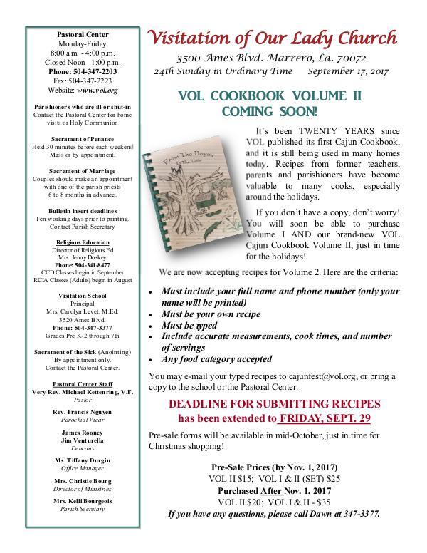 VOL Parish Weekly Bulletin September 17, 2017