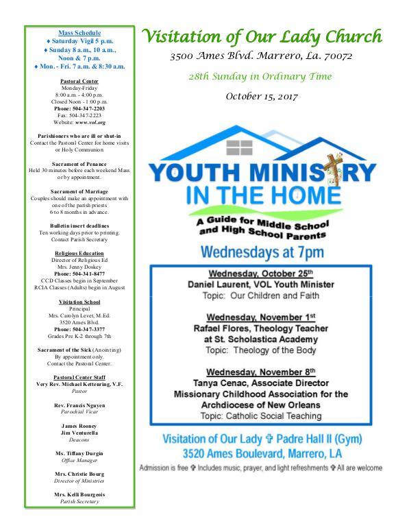 VOL Parish Weekly Bulletin October 15, 2017