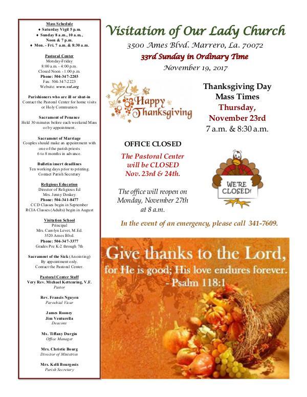 VOL Parish Weekly Bulletin November 19, 2017