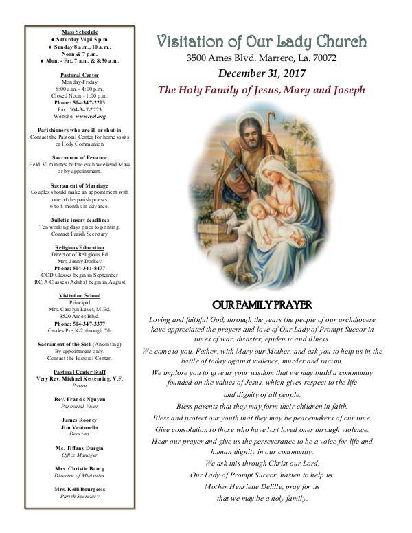 VOL Parish Weekly Bulletin December 31, 2017