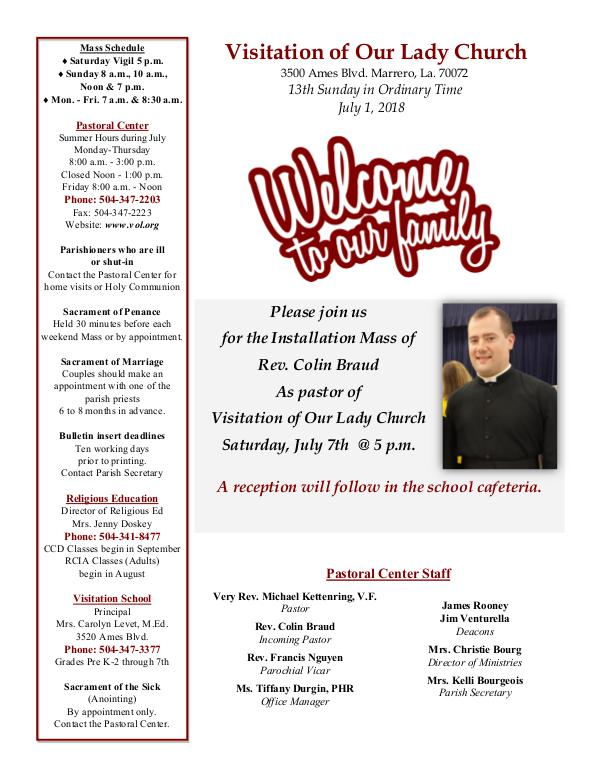 VOL Parish Weekly Bulletin July 1, 2018