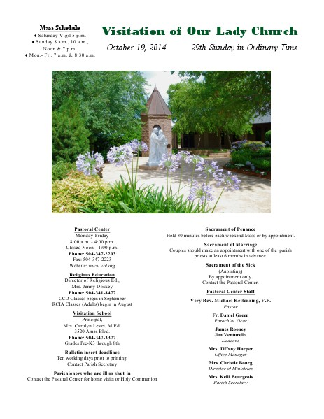 VOL Parish Weekly Bulletin October 19, 2014 Bulletin