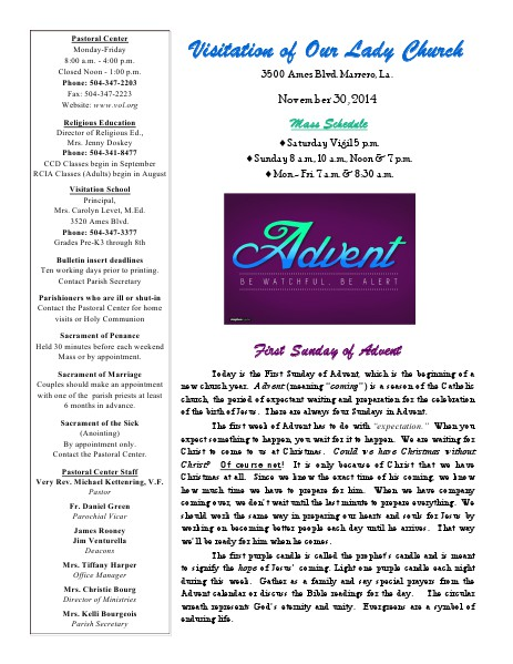 VOL Parish Weekly Bulletin November 30, 2014