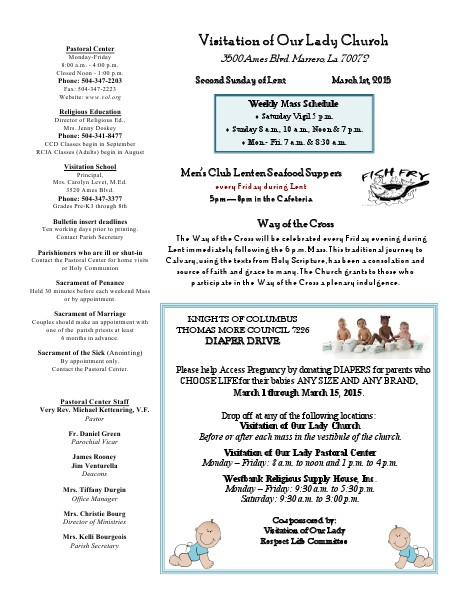 VOL Parish Weekly Bulletin March 1, 2015