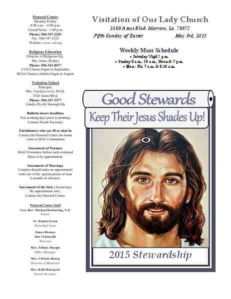 VOL Parish Weekly Bulletin May 3, 2015