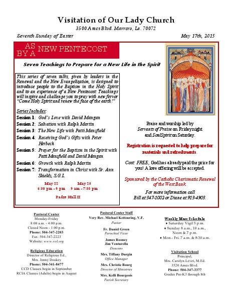VOL Parish Weekly Bulletin May 17, 2015