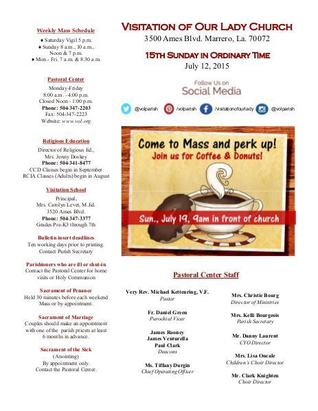 VOL Parish Weekly Bulletin July 12, 2015