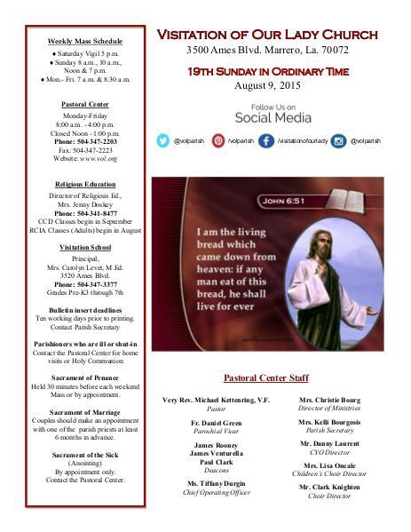 VOL Parish Weekly Bulletin August 9, 2015