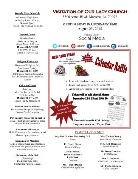 VOL Parish Weekly Bulletin August 23, 2015