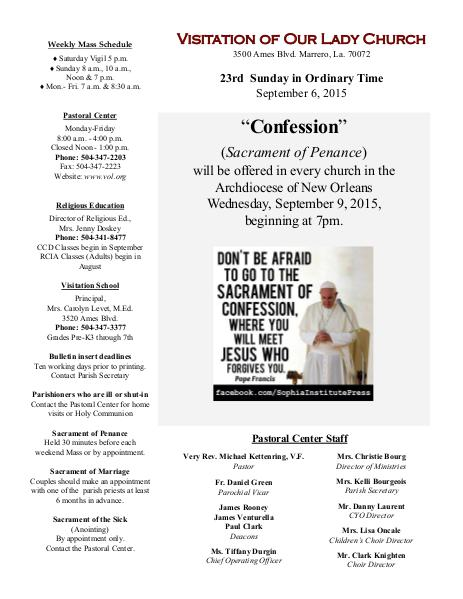 VOL Parish Weekly Bulletin September 6, 2015