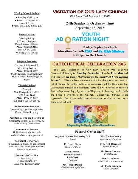 VOL Parish Weekly Bulletin September 13, 2015