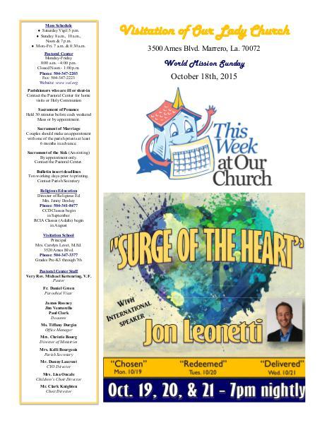 VOL Parish Weekly Bulletin October 18, 2015