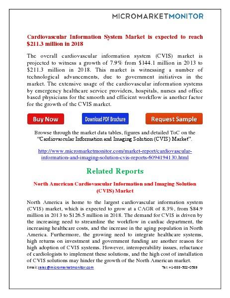 Cardiovascular Information System Market by 2018 July 2014