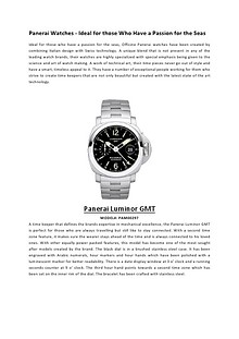Panerai Watches - Ideal for those Who Have a Passion for the Seas