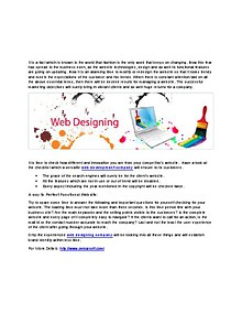 Exquisite Web designing company Ensures Their Every Website to Swing