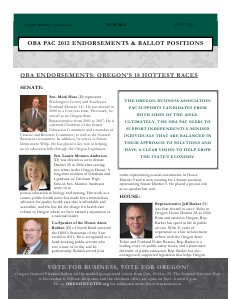 OBA PAC Endorsements October 19, 2012 Election Edition