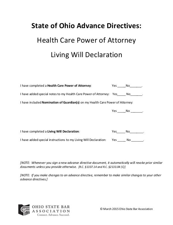 Advance Directives State of Ohio Forms
