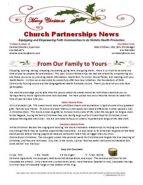Church Partnership Newsletter December 2014