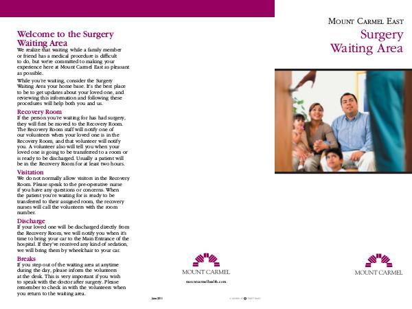 Patient Education Mount Carmel East Surgery Waiting Area