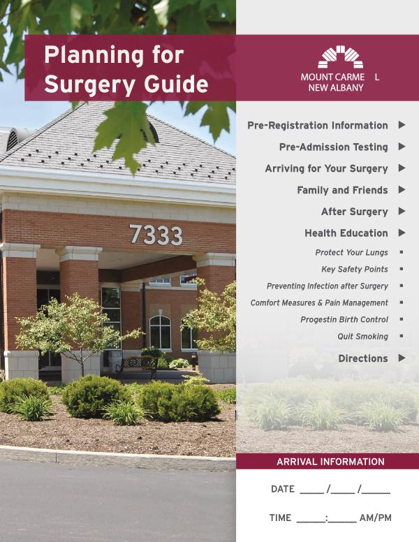 Patient Education Preparing for Surgery at Mount Carmel New Albany