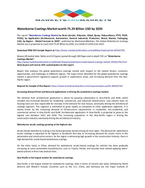 Waterborne Coatings Market Waterborne Coatings Market