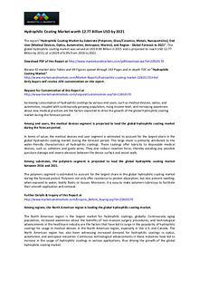 Hydrophilic Coating Market worth 12.77 Billion USD by 2021