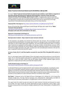 Water Treatment Chemicals Market worth 24.94 Billion USD by 2020