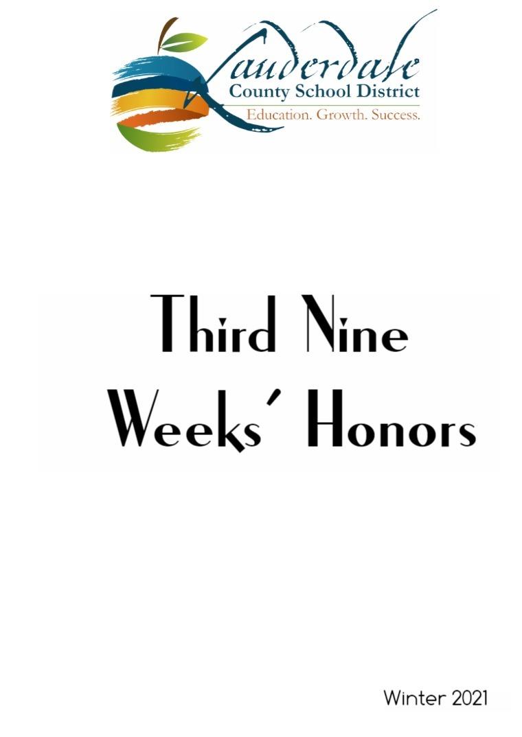 LCSD Third Nine Weeks' Honors Lists