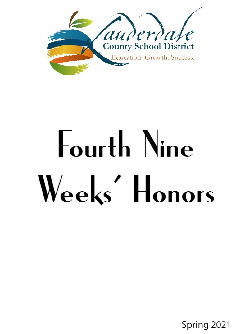 LCSD 2021 Fourth Nine Weeks' Honors Lists