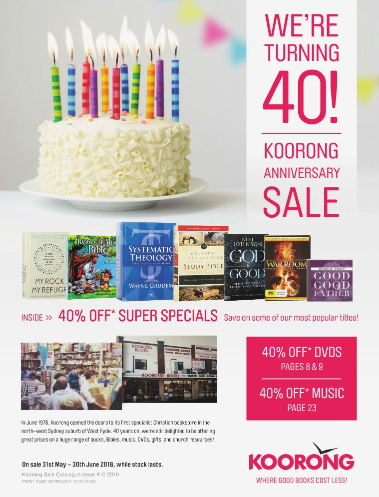 The Koorong Catalogue 40th Anniversary Sale